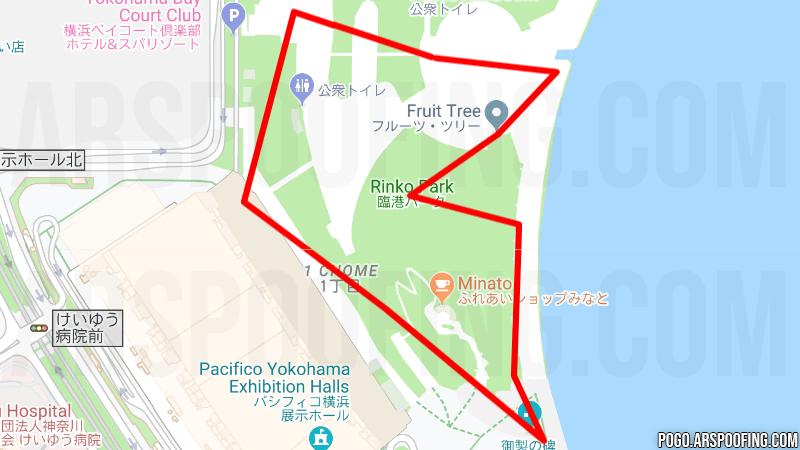 Rinko Park GPX Route - Yokohama, Japan - Pokemon GO